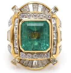 18K Yellow Gold 6.20 CTS Emerald and 3.22 CTW Diamond Ring