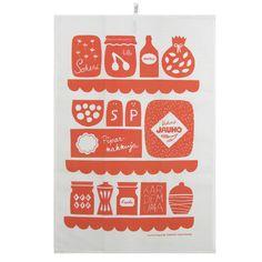 Keittiössä tea towel, red