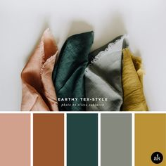 an earthy-textile-inspired color palette — Creative brands for creative people // Akula Kreative an earthy-textile-inspired color palette // coral clay, terra cotta, spruce green, gray, mustard yellow // photo by elissa robinson Earthy Color Palette, Colour Pallette, Color Combos, Paint Combinations, Paint Color Palettes, Green Colour Palette, Bedroom Color Palettes, Color Trends, Fall Paint Colors