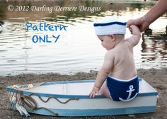 Thursday Handmade Love Week 67 Theme: Sailor Includes links to #free #crochet patterns  PDF Instant Download Sailor Hat, Nautical Headband, and Anchor Diaper Cover PATTERN via Etsy