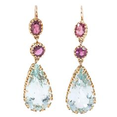 Victorian Aquamarine Amethyst Gold Drop Earrings | From a unique collection of vintage drop earrings at https://www.1stdibs.com/jewelry/earrings/drop-earrings/