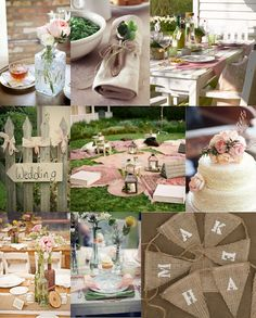 Pretty Rustic Pink & Green Wedding. i like these colors a lot! should I add in hints of yellow too?