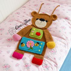 Teddy Bear Organizer crochet by One and two company