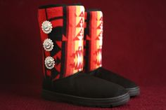 Women's Size 9.5 Black Winter Boots with the Red Native American Pattern and Concho Buttons – Charm's Native Boots
