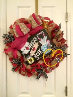 Nurse Wreath Hospital Door Hanger Nurse Gift Nurse Wall Art