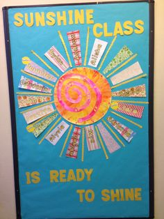 Bulletin board to start the new year.... Head start 3's class called Sunshine... Abstract sun with patterned paper, or textured would work too.