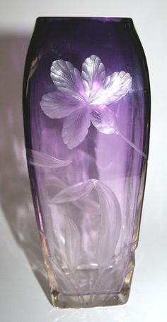 """ART-GLASS VASE c.1900 By MOSER-KARLSBAD - Glass is mouth blown & cut with Flower design, has a foursquare form showing a colour gradient of Violet to clear - from the top to the base - D's 9.05""""(23cm) H x 3.54""""(9cm) D x 3.54""""(9cm) W 