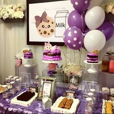 Pretty purple milk and cookies birthday party! See more party ideas at CatchMyParty.com!