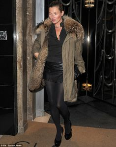 Kate Moss managed to pull off a Parka as she arrived at Claridge's Hotel on Wednesday night