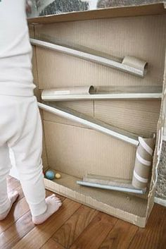 Do it yourself ball ramp.  I can see the kids building this and then experimenting. Engaging and rich for all of ECE!