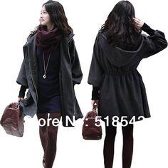 02d903445879d S M L plus size trench coat for women autumn 2015 winter women coat  cashmere coat hoody drawstring thicken wool coat windbreaker