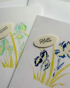 Shades of Blue Iris Cards  Set of two by LillyThings on Etsy, $3.75