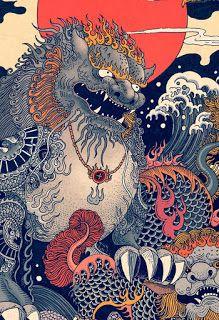 RLoN Wang's Vivid Illustrations Depict Dynamic is part of Japanese artwork RLoN Wang's Vivid Illustrations Depict Dynamic Scenes of Nature and East Asian Mythology - Art And Illustration, Illustrations And Posters, Japanese Artwork, Japanese Painting, Japanese Prints, Fantasy Kunst, Fantasy Art, Art Chinois, Art Asiatique
