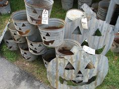 Halloween decorations from maple sap buckets.