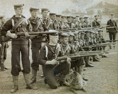 This is a brilliant and rare image of British Bluecoats from HMS Alacrity carrying Lee Enfield rifles China during the Boxer rebellion 1900