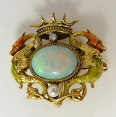 YELLOW GOLD FIRE OPAL CROWN BROOCH PENDANT