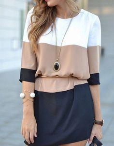 DESCRIPTION Season :Fall Pattern Type :Color Block Sleeve Length :Half Sleeve Color :Coffee Dresses Length :Short Style :Fashion Material :Polyester Neckline :Round Neck Silhouette :Shift Decoration :Button Shoulder(cm) :S:36cm,M:37cm,L:38cm,XL:39cm Bust(cm) :S:84cm,M:88cm,L:92cm,XL:96cm Length(cm) :S:82cm,M:83cm,L:84cm,XL:86cm Sleeve Length(cm) :S:37.5cm,M:38.5cm,L:39.5cm,XL:40.5cm Size Available :S M L XL