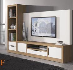 Composición modular 320 cm. en estilo moderno, acabada en chapa natural de roble almendra y laca blanco.