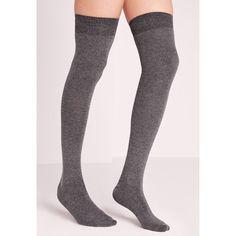 Missguided Phiphi Over Knee Socks (100 MAD) ❤ liked on Polyvore featuring intimates, hosiery, socks, grey, gray socks, over-the-knee socks, grey over the knee socks, over the knee hosiery and overknee socks