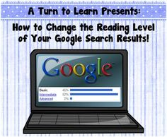 Do you do research projects with your class and constantly have children at websites way above their reading level?  use this easy trick to change the reading level of your google results!