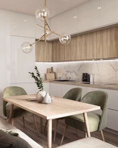 Este posibil ca imaginea să conţină: masă şi interior Kitchen Room Design, Home Room Design, Modern Kitchen Design, Dining Room Design, Home Decor Kitchen, Interior Design Kitchen, House Design, Minimal Kitchen, Apartment Interior