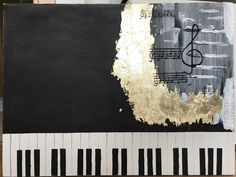Is there any suggestion to make better this acrylic paint ?  #acrylic #paint #goldleaf #oilpaint #piano #blackandwhite #blackwhitegold #black #white #gold #abstract #painting #abstractpainting