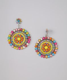 Take a look at the Red & Yellow Aubrey Earrings on #zulily today!