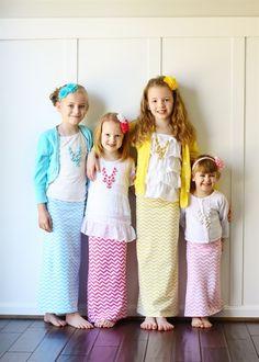 Kid's Chevron Maxi Skirts