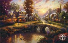 Thomas Kinkade - Sunset on Lamplight Lane...I want to live in this painting.