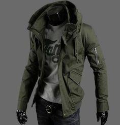 New men\'s casual Coat Zip jacket washed Fashion Warm Hooded Jacket #Handmade #BasicCoat