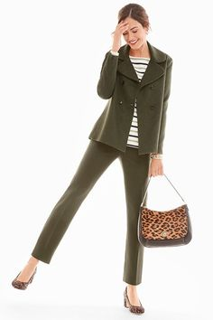 Olive. The new neutral we can't get enough of- so we're layering it! Starting with our deep olive Hampshire Ankle, our Sweater Blazer and finishing it off with pops of leopard. | Talbots Fall 2019