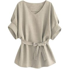 Womens Plus Size V Neck Tunic Short Sleeve Blouse Gray (68 ILS) ❤ liked on Polyvore featuring tops, grey, gray top, plus size tops, short sleeve tops, grey top and womens plus tops