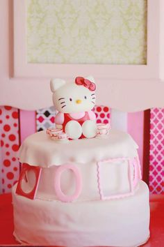Hello Kitty Cake karaspartyideas.com #hello #kitty #cake #ideas