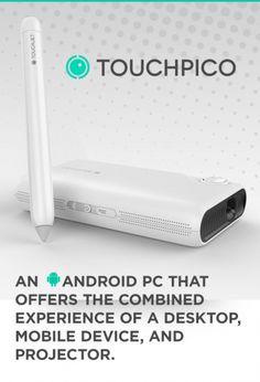 TouchPico  intègre un pico projecteur (Wifi/Wi-Fi Direct, entrée HDMI, définition de 854×480 pixels, port microSD, autonomie de seulement 45 min et luminosité de 80 lumens) qui pourra projeter sur une surface plane le contenu de votre smartphone (image jusqu'à 80 pouces), mais le projecteur miniature peut également fonctionner seul, car il tourne lui-même sous Android 4.2. Le tout est directement utilisable via le stylet infrarouge fourni qui permet donc d'avoir l'interaction tactile !