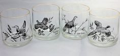 Set of 4 Vintage Game Bird Whiskey Glasses/ by CuriousAndVintage