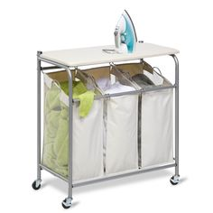 The Honey Can Do Ironing and Sorter Combo Laundry Center is perfect for laundry rooms big and small. The Honey Can Do Laundry Sorter has an easy lift-up ironing board for easy access to laundry bags. Laundry Station, Laundry Cart, Laundry Center, Laundry Hamper, Laundry Room, Ironing Station, Organizar Closet, Ideas Para Organizar, Iron Board