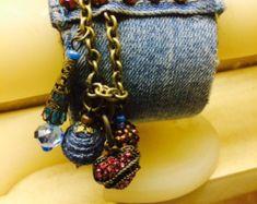 Denim Cuff Charm Bracelet'