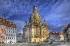 The recently rebuilt Frauenkirche (Church of Our Lady). This chruch was bombed and destroyed during WWII and was rebuilt in 2005 using some of the original bricks from the original bombed building. Historical Dresden HDR by msdstefan, via Flickr