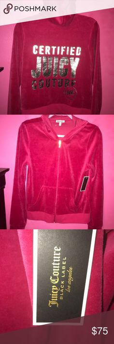 Juicy Couture Robertson Velour jacket/hoodie Brand new with tags Juicy Couture Velour hoodie in the color sangria( pink) size: large. Juicy Couture Jackets & Coats