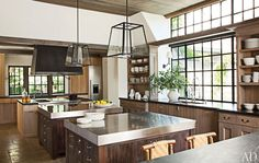 Country modern kitchen, cool lamp