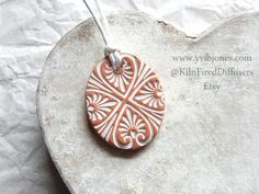 Aromatherapy Terracotta Clay Diffuser by KilnFiredDiffusers Diffuser Jewelry, Diffuser Necklace, Essential Oil Diffuser, Essential Oils, Shabby Chic Hearts, Aromatherapy Jewelry, Fire Clay, Porcelain Clay, Diffusers