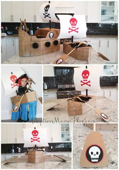 Make a Pirate Ship Halloween Costume out of cardboard & dollar store items. Cheap and Fun! PLUS FREE PRINTABLES.