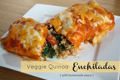 Veggie Quinoa Enchiladas - made a batch without cheese, froze them in pairs and reheated (topped with cheese) - these are awesome and packed with good stuff!!