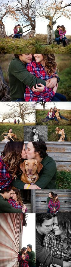 We LOVE these sweet engagement photos. Their rustic background, the sweater, the plaid, the dog? Forget it. CW would be the perfect backdrop!