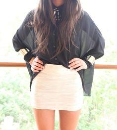 silk blouse plus tube skirt. love this shirt!