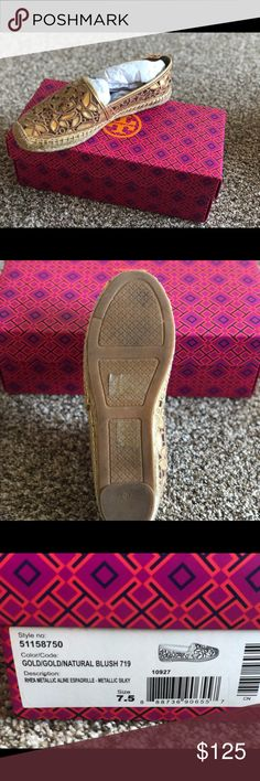 bdde611bc Shop Women s Tory Burch Gold size Espadrilles at a discounted price at  Poshmark. Description  Tory Burch gold espadrilles Worn once BOX INCLUDED.