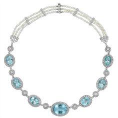 Platinum, Aquamarine, Diamond and Triple Strand Cultured Pearl Necklace