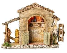 5 Inch Scale LED lighted Farmhouse by Fontanini Nativity Stable, Nativity Sets, Fontanini Nativity, Medieval Houses, Christmas Nativity, Merry Christmas, Family Traditions, Scale, Farmhouse