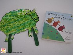Activities to play and make from the book Where is the Green Sheep by Mem Fox. Hide and Seek Green Sheep and painting with toy cars. Preschool Literacy, Preschool Books, Early Literacy, Literacy Activities, Toddler Activities, Preschool Journals, Toddler Play, Preschool Lessons, Toddler Books