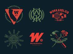 Workaholics branding by pipirurris Typography Logo, Logo Branding, Branding Design, Brand Identity, Unique Logo, Cool Logo, Logo Maker, Badge Design, Best Logo Design